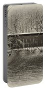 Covered Bridge In Black And White Portable Battery Charger