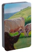 Cow And Calf Painting Portable Battery Charger
