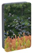 Cowbirds In Flight Over Milo Fields In Shiloh National Military Park Portable Battery Charger