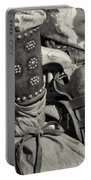 Cowboy And Six Shooter Bw Sepia Portable Battery Charger