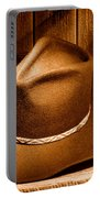 Cowboy Hat - Sepia Portable Battery Charger