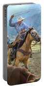 Cowboy Roping A Steer Portable Battery Charger