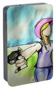 Cowgirl With Gun Portable Battery Charger