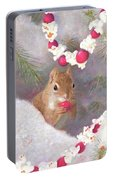 Cranberry Garlands Christmas Squirrel Portable Battery Charger