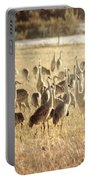Cranes In The Morning Mist Portable Battery Charger