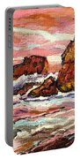 Crashing Waves At Sunset  Majestic Seascape Portable Battery Charger