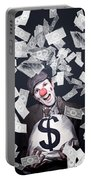 Crazy Clown Excited To Hold A Bag Of Money Portable Battery Charger