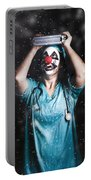 Crazy Doctor Clown Laughing In Rain Portable Battery Charger