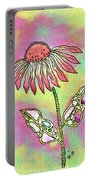 Crazy Flower With Funky Leaves Portable Battery Charger