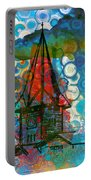 Crazy Red House In The Clouds Whimsy Portable Battery Charger