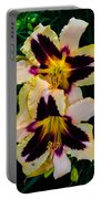 Cream And Purple Lilies Portable Battery Charger