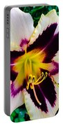 Cream And Purple Lily Macro Portable Battery Charger