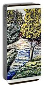 Creek In The Forest Framed Portable Battery Charger