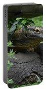 Creeping Komodo Monitor Climbing Under A Fallen Log Portable Battery Charger