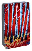 Crimson Birch Trees Portable Battery Charger