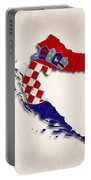 Croatia Map Art With Flag Design Portable Battery Charger