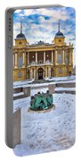 Croatian National Theater In Zagreb Winter View Portable Battery Charger