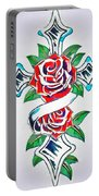 Cross And Roses Tattoo Portable Battery Charger