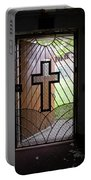 Cross On Church Door Open To Prison Yard Portable Battery Charger