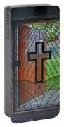 Cross On Church Door Open To Prison Yard With Light Portable Battery Charger