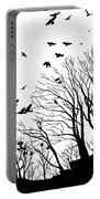 Crows Roost 2 - Black And White Portable Battery Charger