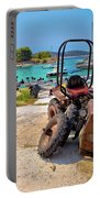 Crushed Tractor By The Sea On Island Prvic Portable Battery Charger