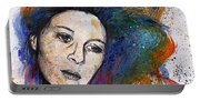 Crystal - Street Art Female Portrait With Rainbow Hair Portable Battery Charger