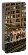 Cta Pulls Into The State-lake Street Station Chicago Illinois Portable Battery Charger