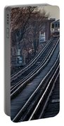 Cta Train Approaching Damen Avenue Station Chicago Illinois Portable Battery Charger