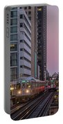 Cta Train On The L At Dusk Chicago Illinois Portable Battery Charger