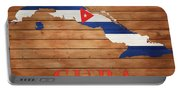 Cuba Rustic Map On Wood Portable Battery Charger