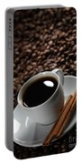 Cup Of Coffe On Coffee Beans Portable Battery Charger