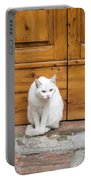 Curious White Cat  Portable Battery Charger