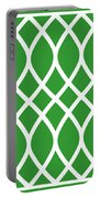 Curved Trellis With Border In Dublin Green Portable Battery Charger