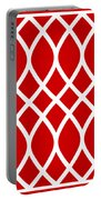 Curved Trellis With Border In Red Portable Battery Charger