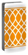 Curved Trellis With Border In Tangerine Portable Battery Charger