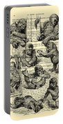 Baby Monkeys Playing Black And White Antique Illustration Portable Battery Charger