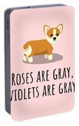 Cute Funny Love Card - Valentine's Day - Anniversary - Birthday Card - Corgi Lover - Roses Are Gray Portable Battery Charger