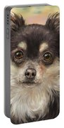 Cute Furry Brown And White Chihuahua On Orange Background Portable Battery Charger