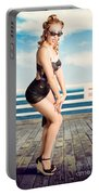 Cute Pinup Girl Looking Surprised On Beach Pier Portable Battery Charger