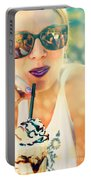 Cute Retro Girl Drinking Milkshake Portable Battery Charger