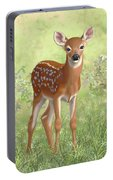 Cute Whitetail Deer Fawn Portable Battery Charger by Crista Forest