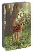 Cute Whitetail Fawn Portable Battery Charger by Crista Forest