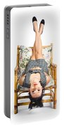 Cute Young Woman Sitting Upside Down On Chair Portable Battery Charger