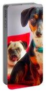 Dachshund Dog, Pug Dog, Good Time On Bed Portable Battery Charger