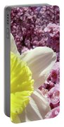 Daffodil Flower Art Prints Pink Tree Blossoms Blue Sky Baslee Portable Battery Charger