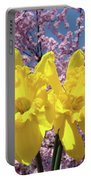 Daffodil Flowers Spring Pink Tree Blossoms Art Prints Baslee Troutman Portable Battery Charger