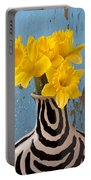 Daffodils In Wide Striped Vase Portable Battery Charger