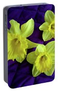 Daffodils On A Purple Quilt Portable Battery Charger