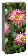Dahlia Garden Floral Pink Yellow Botanical Landscape Baslee Troutman Portable Battery Charger
